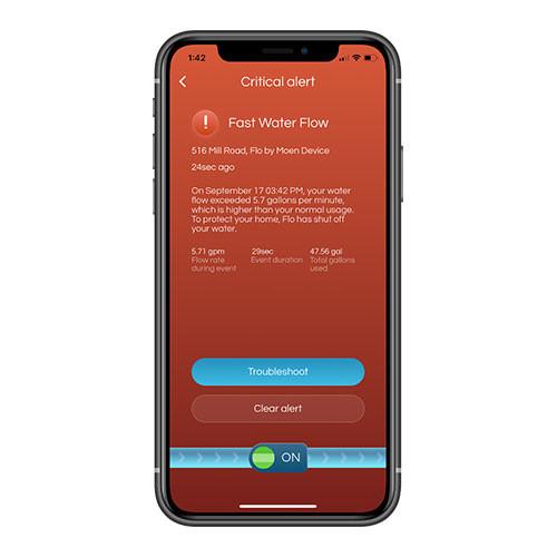 Alert Mobile Phone Screen of Flo by Moen Mobile App