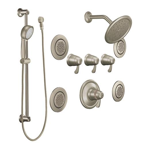 Brushed nickel transfer ExactTemp® vertical spa