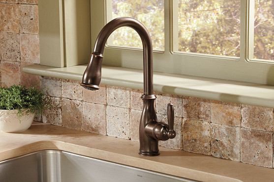 Brantford Oil Rubbed Bronze One Handle High Arc Pulldown Kitchen Faucet