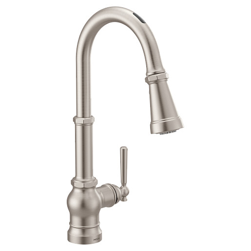 U by Moen Smart Faucet Spot Resist Stainless One-Handle High Arc Pulldown Kitchen Faucet in Paterson