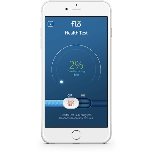 Health Test Mobile Phone Screen of Flo by Moen Mobile App