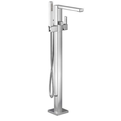 90 Degree Chrome one-handle tub filler includes hand shower
