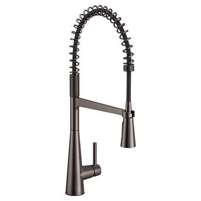 Moen Sleek Black Stainless One-Handle Pre-Rinse Spring Pulldown Kitchen Faucet