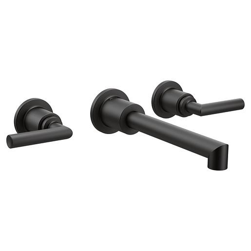 Arris Matte Black Two-Handle Wall Mount Bathroom Faucet