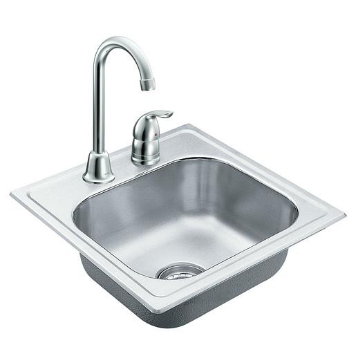 """2000 Series 15""""x15"""" stainless steel 20 gauge single bowl drop in sink"""