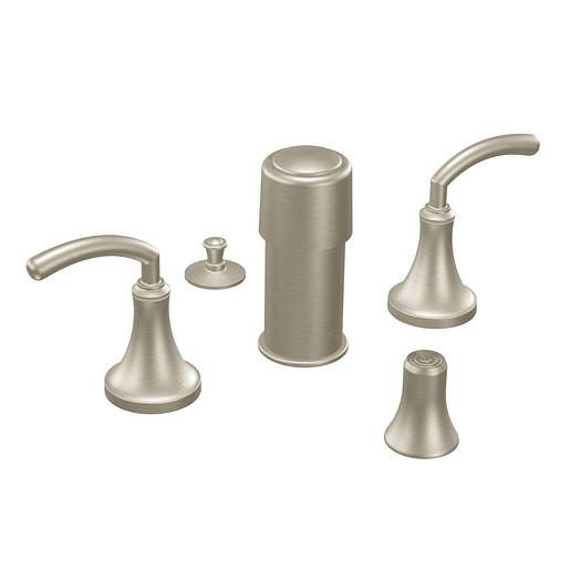 Icon Brushed nickel two-handle bidet faucet