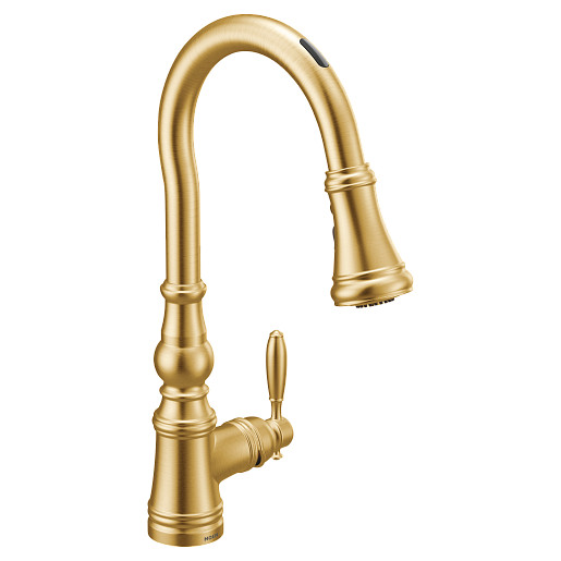 U by Moen Smart Faucet Brushed Gold One-Handle High Arc Pulldown Kitchen Faucet in Weymouth