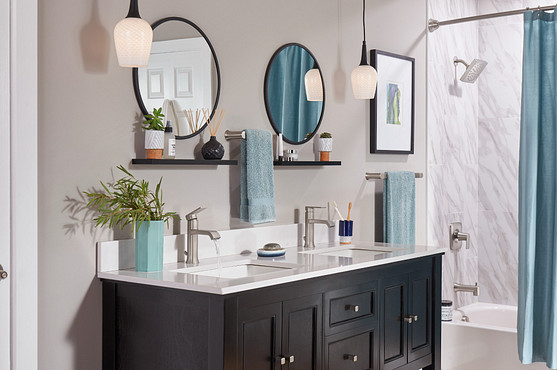 Install a curved shower road, decorative shelf, and proper quality lighting