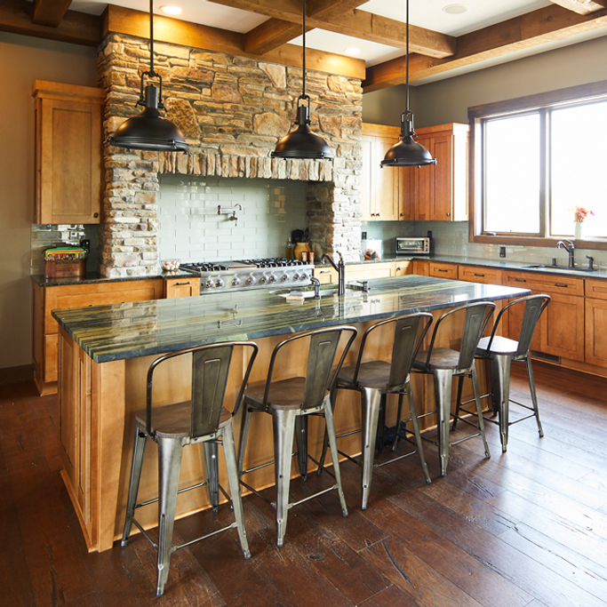Beautiful Rustic Kitchen with Moen Wetherly Kitchen Faucet
