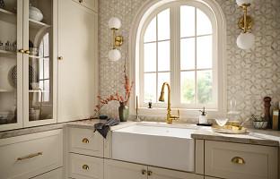 beige kitchen with big window