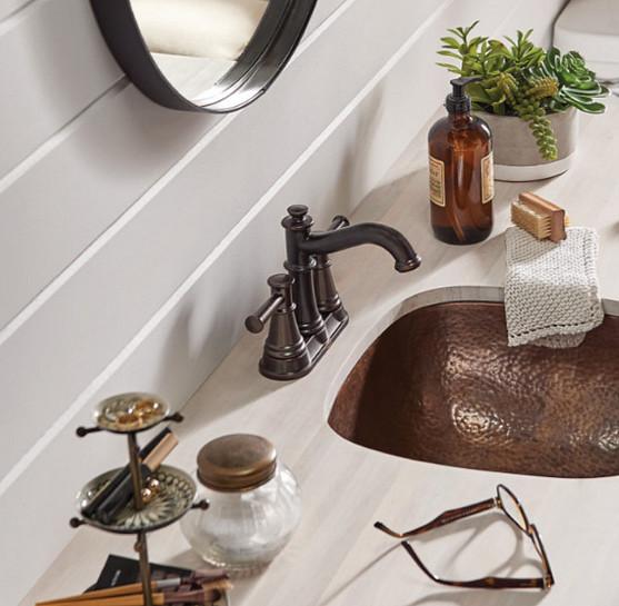 Warm metals texture and sheen kitchen bathroom design decor