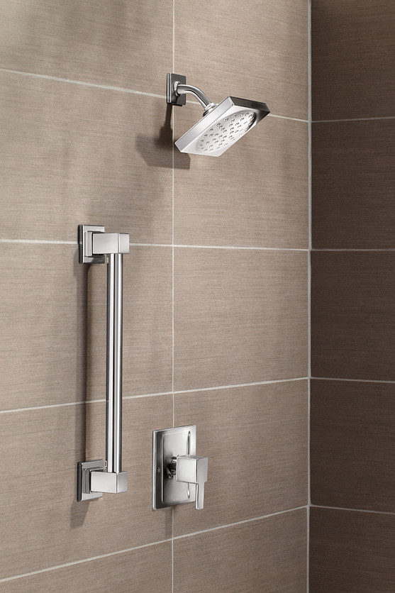 90 Degree Chrome Showerhead with Safety Grab Bar