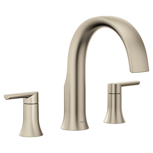 Doux Brushed nickel Two-Handle Non-Diverter Roman Tub Faucet