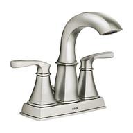 Hensley Spot Resist Brushed Nickel Microban Two-Handle High Arc Bathroom Faucet