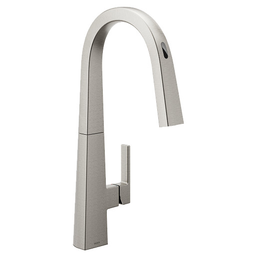 U by Moen Smart Faucet Spot Resist Stainless One-Handle High Arc Pulldown Kitchen Faucet in Nio