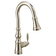 U by Moen Smart Faucet Polished Nickel One-Handle High Arc Pulldown Kitchen Faucet in Weymouth