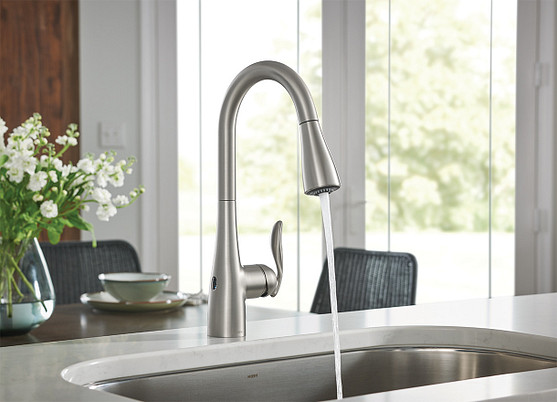 Arbor Spot Resist Stainless MotionSense Wave Pulldown Kitchen Faucet 7594EWSRS