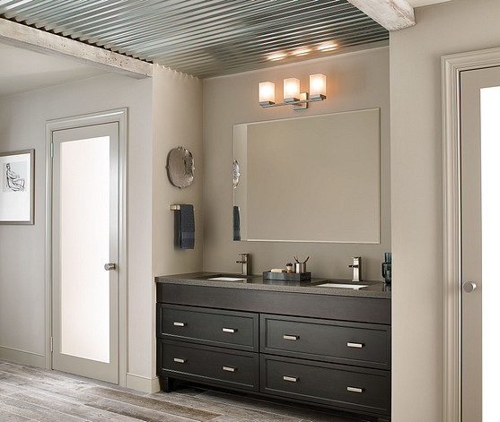 Moen 90 Degree Brushed Nickel Collection with Bathroom Mirror