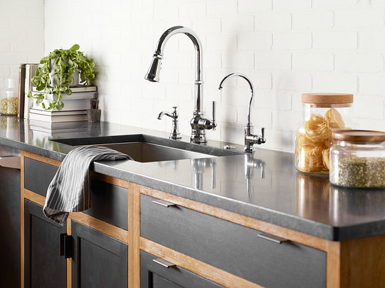 Paterson Chrome One-Handle High Arc Pulldown Kitchen Faucet