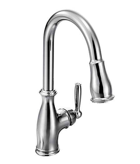 Brantford Chrome One-Handle High Arc Pulldown Kitchen Faucet