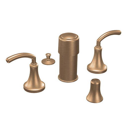Icon Brushed bronze two-handle bidet faucet