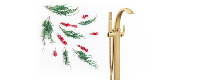 Relaxation at its finest - Voss Brushed Gold Tub Filler - 695BG