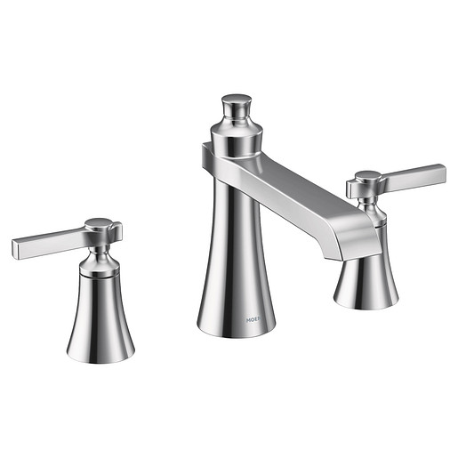 Flara Chrome two-handle high arc roman tub faucet