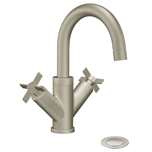 Solace Brushed nickel two-handle high arc bathroom faucet