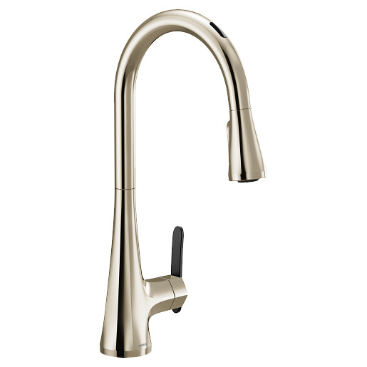 U by Moen Smart Faucet Polished Nickel One-Handle High Arc Pulldown Kitchen Faucet in Sinema