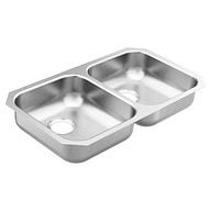 "1800 Series 31-3/4""x18-1/4"" stainless steel 18 gauge double bowl sink"