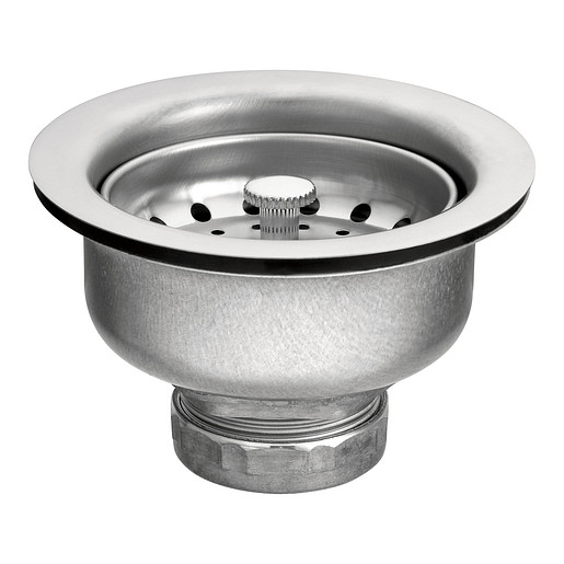 """Moen Satin Stainless Steel Basket Strainer with Drain Assembly 3-1/2"""""""