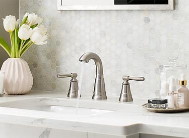 Halle Spot Resist Brushed Nickel Two-Handle High Arc Bathroom Faucet