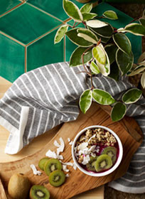 Green Table With Fruit Bowl
