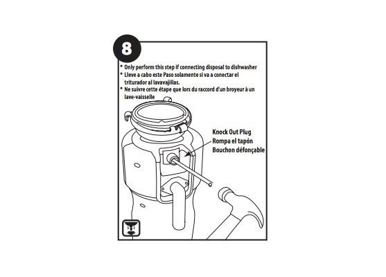 Knockout the dishwasher discharge plug