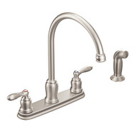 Caldwell Spot Resist Stainless Two-Handle High Arc Kitchen Faucet