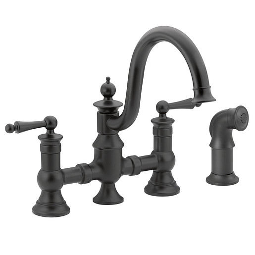 Waterhill Wrought Iron Two-Handle High Arc Kitchen Faucet