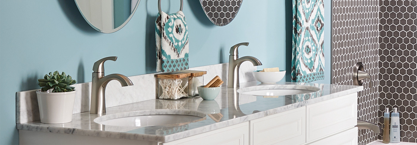 Spot Resist Bath Faucets and White Vanity