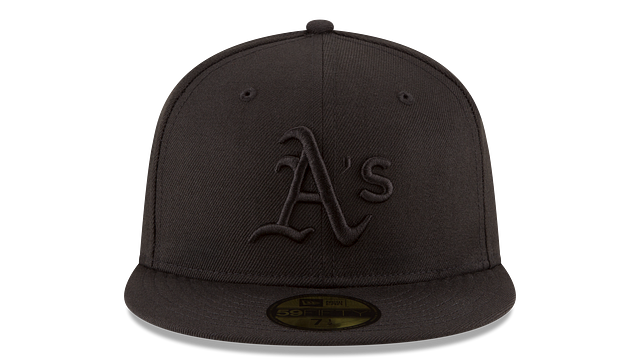 OAKLAND ATHLETICS BLACK ON BLACK 59FIFTY FITTED