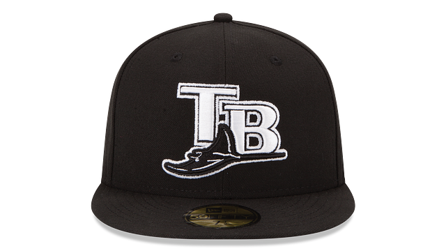 TAMPA BAY RAYS BLACK & WHITE 59FIFTY FITTED