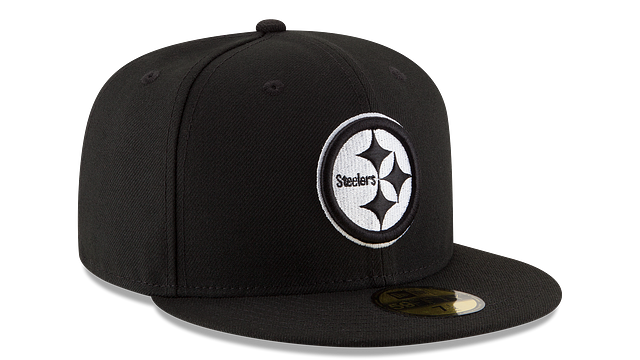 PITTSBURGH STEELERS BLACK & WHITE 59FIFTY FITTED