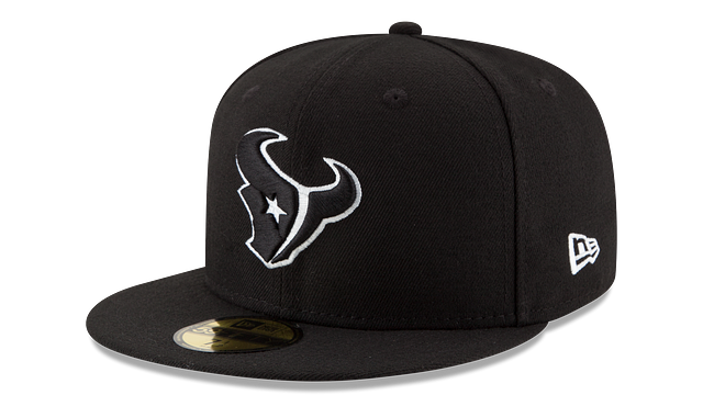 HOUSTON TEXANS BLACK & WHITE 59FIFTY FITTED