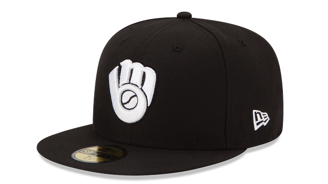 MILWAUKEE BREWERS BLACK & WHITE 59FIFTY FITTED