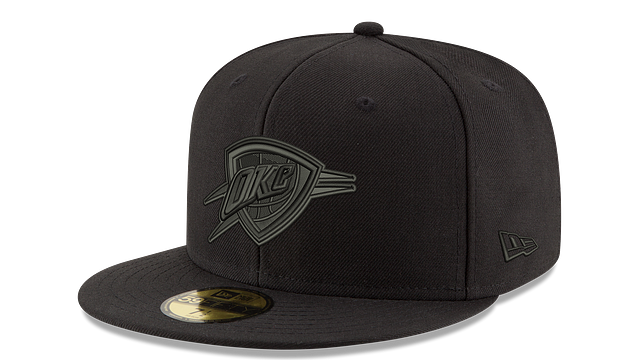 OKLAHOMA CITY THUNDER BLACK ON BLACK 59FIFTY FITTED