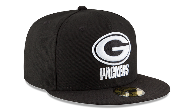 GREEN BAY PACKERS BLACK & WHITE 59FIFTY FITTED