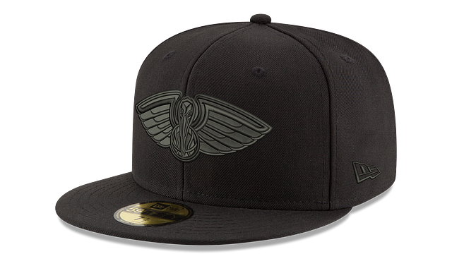 NEW ORLEANS PELICANS BLACK ON BLACK 59FIFTY FITTED