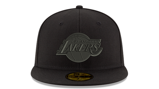 LOS ANGELES LAKERS BLACK ON BLACK 59FIFTY FITTED