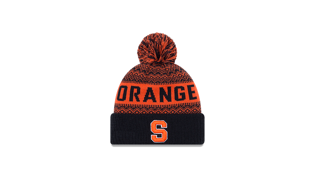 SYRACUSE ORANGE WINTRY POM KNIT 3 quarter left view