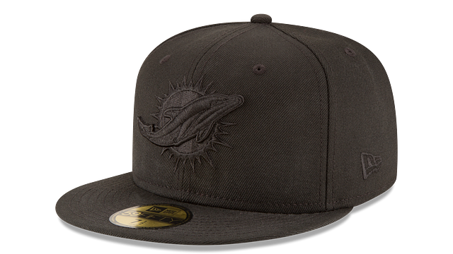 MIAMI DOLPHINS BLACK ON BLACK 59FIFTY FITTED