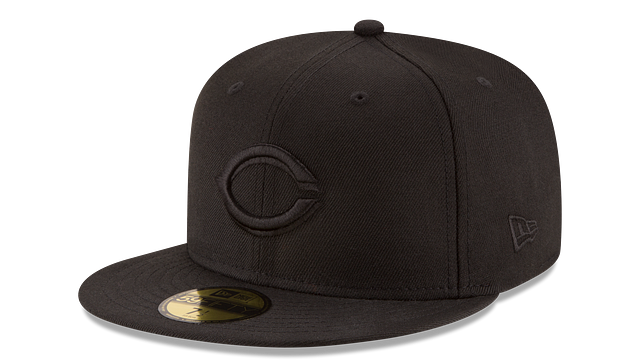 CINCINNATI REDS BLACK ON BLACK 59FIFTY FITTED