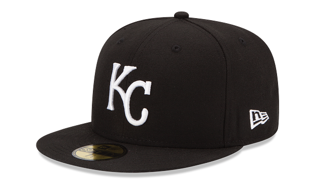 KANSAS CITY ROYALS BLACK & WHITE 59FIFTY FITTED